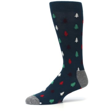 Image of Blue Green Christmas Trees Men's Dress Socks (side-2-10)