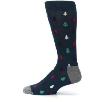 Image of Blue Green Christmas Trees Men's Dress Socks (side-2-12)
