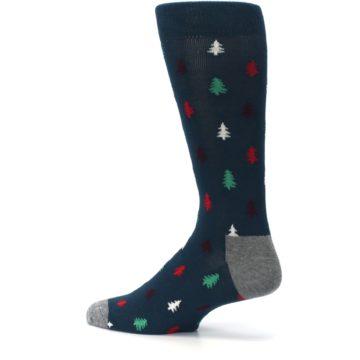 Image of Blue Green Christmas Trees Men's Dress Socks (side-2-13)
