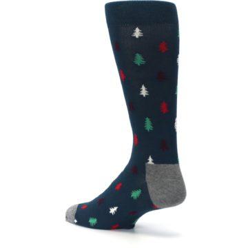 Image of Blue Green Christmas Trees Men's Dress Socks (side-2-back-14)
