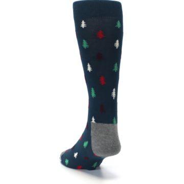 Image of Blue Green Christmas Trees Men's Dress Socks (side-2-back-16)