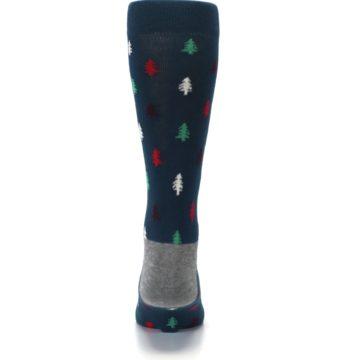 Image of Blue Green Christmas Trees Men's Dress Socks (back-18)