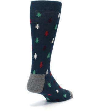 Image of Blue Green Christmas Trees Men's Dress Socks (side-1-back-21)