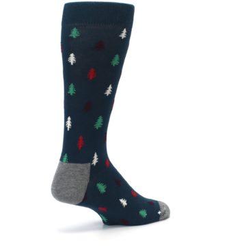 Image of Blue Green Christmas Trees Men's Dress Socks (side-1-back-22)
