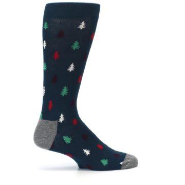 Image of Blue Green Christmas Trees Men's Dress Socks (side-1-24)