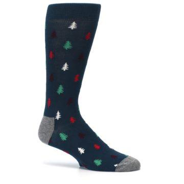 Image of Blue Green Christmas Trees Men's Dress Socks (side-1-25)