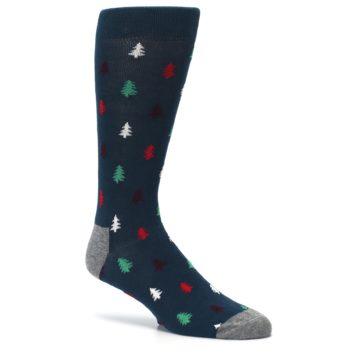 Image of Blue Green Christmas Trees Men's Dress Socks (side-1-26)