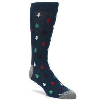 Image of Blue Green Christmas Trees Men's Dress Socks (side-1-27)