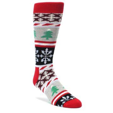 Gray-Red-Christmas-Holiday-Fair-Isle-Mens-Dress-Socks-Happy-Socks