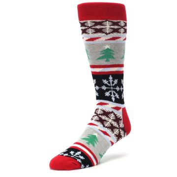 Image of Gray Red Christmas Holiday Fair Isle Men's Dress Socks (side-2-front-08)