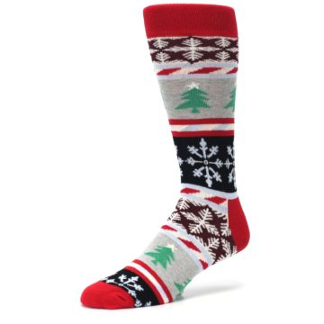 Image of Gray Red Christmas Holiday Fair Isle Men's Dress Socks (side-2-09)