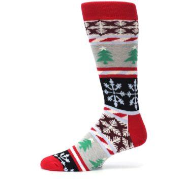 Image of Gray Red Christmas Holiday Fair Isle Men's Dress Socks (side-2-11)