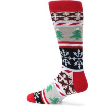 Image of Gray Red Christmas Holiday Fair Isle Men's Dress Socks (side-2-13)