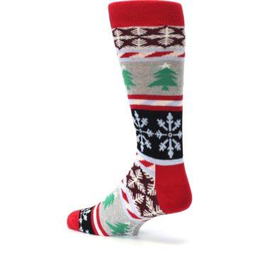 Image of Gray Red Christmas Holiday Fair Isle Men's Dress Socks (side-2-back-14)