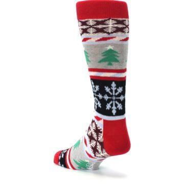 Image of Gray Red Christmas Holiday Fair Isle Men's Dress Socks (side-2-back-15)