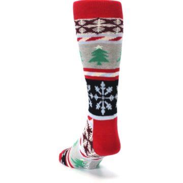 Image of Gray Red Christmas Holiday Fair Isle Men's Dress Socks (side-2-back-16)
