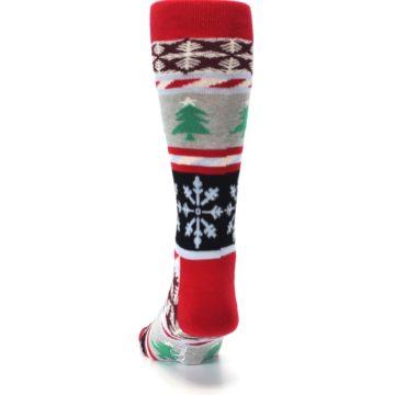 Image of Gray Red Christmas Holiday Fair Isle Men's Dress Socks (back-17)