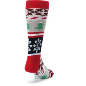 Image of Gray Red Christmas Holiday Fair Isle Men's Dress Socks (side-1-back-20)