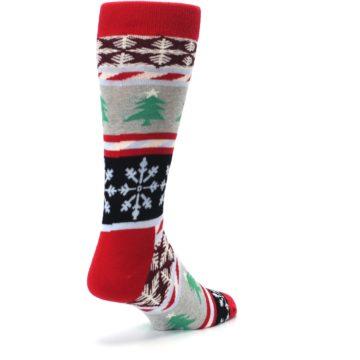 Image of Gray Red Christmas Holiday Fair Isle Men's Dress Socks (side-1-back-21)
