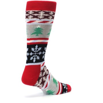 Image of Gray Red Christmas Holiday Fair Isle Men's Dress Socks (side-1-back-22)