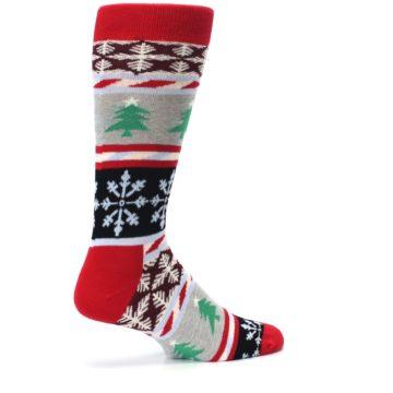 Image of Gray Red Christmas Holiday Fair Isle Men's Dress Socks (side-1-23)