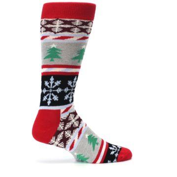 Image of Gray Red Christmas Holiday Fair Isle Men's Dress Socks (side-1-24)