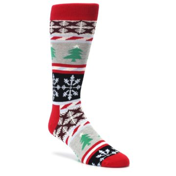 Image of Gray Red Christmas Holiday Fair Isle Men's Dress Socks (side-1-27)