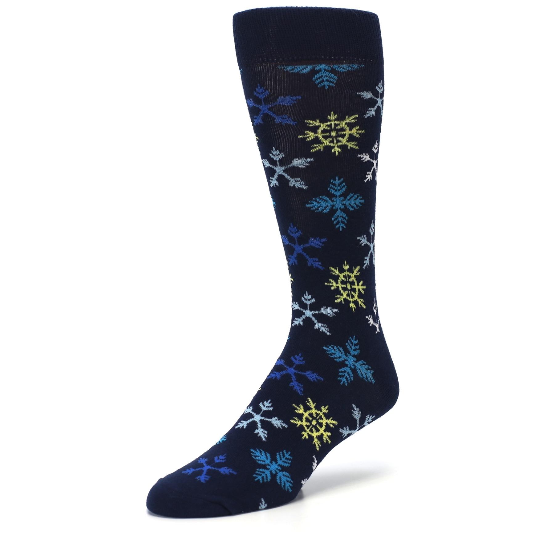 Navy Winter Snowflakes Mens Dress Socks Boldsocks Snow Flakes