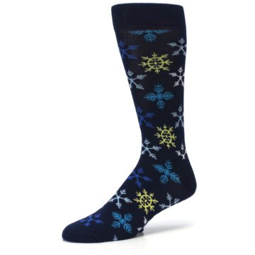 Image of Navy Winter Snowflakes Men's Dress Socks (side-2-09)