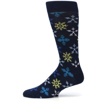 Image of Navy Winter Snowflakes Men's Dress Socks (side-2-11)