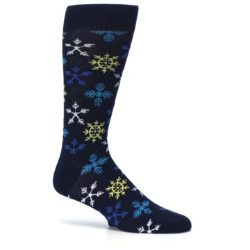 Image of Navy Winter Snowflakes Men's Dress Socks (side-1-25)