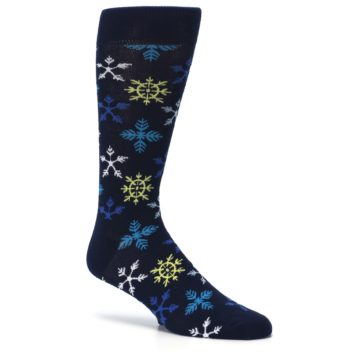 Image of Navy Winter Snowflakes Men's Dress Socks (side-1-26)