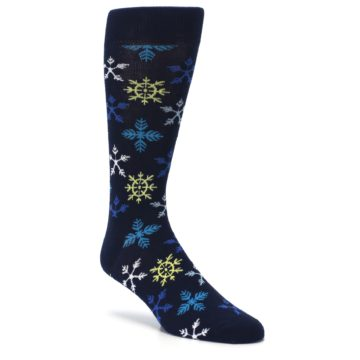 Image of Navy Winter Snowflakes Men's Dress Socks (side-1-27)