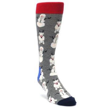 Image of Gray Snowman and Reindeer Men's Dress Socks (side-1-front-02)
