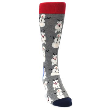 Image of Gray Snowman and Reindeer Men's Dress Socks (side-1-front-03)