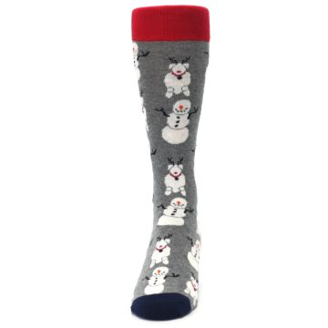 Image of Gray Snowman and Reindeer Men's Dress Socks (front-05)