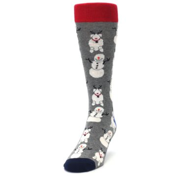Image of Gray Snowman and Reindeer Men's Dress Socks (side-2-front-06)