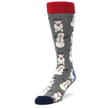 Image of Gray Snowman and Reindeer Men's Dress Socks (side-2-front-07)
