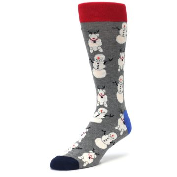 Image of Gray Snowman and Reindeer Men's Dress Socks (side-2-front-08)