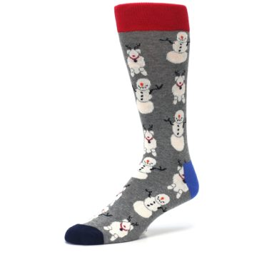 Image of Gray Snowman and Reindeer Men's Dress Socks (side-2-09)