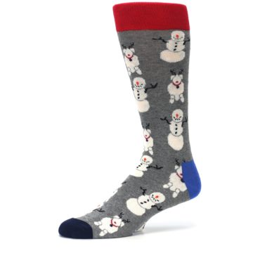 Image of Gray Snowman and Reindeer Men's Dress Socks (side-2-10)