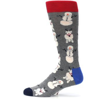 Image of Gray Snowman and Reindeer Men's Dress Socks (side-2-12)