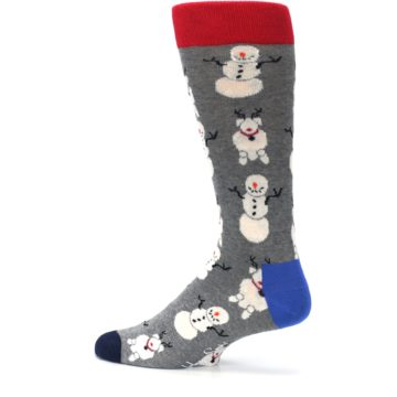 Image of Gray Snowman and Reindeer Men's Dress Socks (side-2-13)
