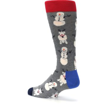 Image of Gray Snowman and Reindeer Men's Dress Socks (side-2-back-14)