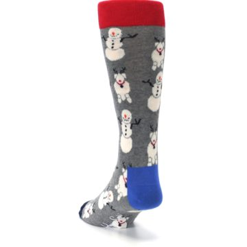Image of Gray Snowman and Reindeer Men's Dress Socks (side-2-back-16)