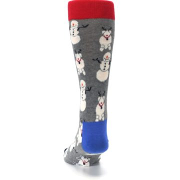Image of Gray Snowman and Reindeer Men's Dress Socks (back-17)