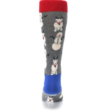 Image of Gray Snowman and Reindeer Men's Dress Socks (back-18)