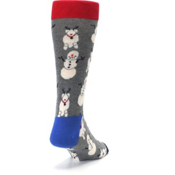 Image of Gray Snowman and Reindeer Men's Dress Socks (side-1-back-20)