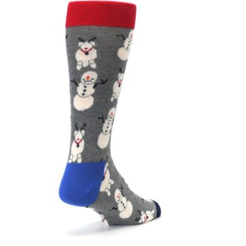 Image of Gray Snowman and Reindeer Men's Dress Socks (side-1-back-21)