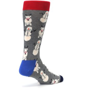 Image of Gray Snowman and Reindeer Men's Dress Socks (side-1-back-22)